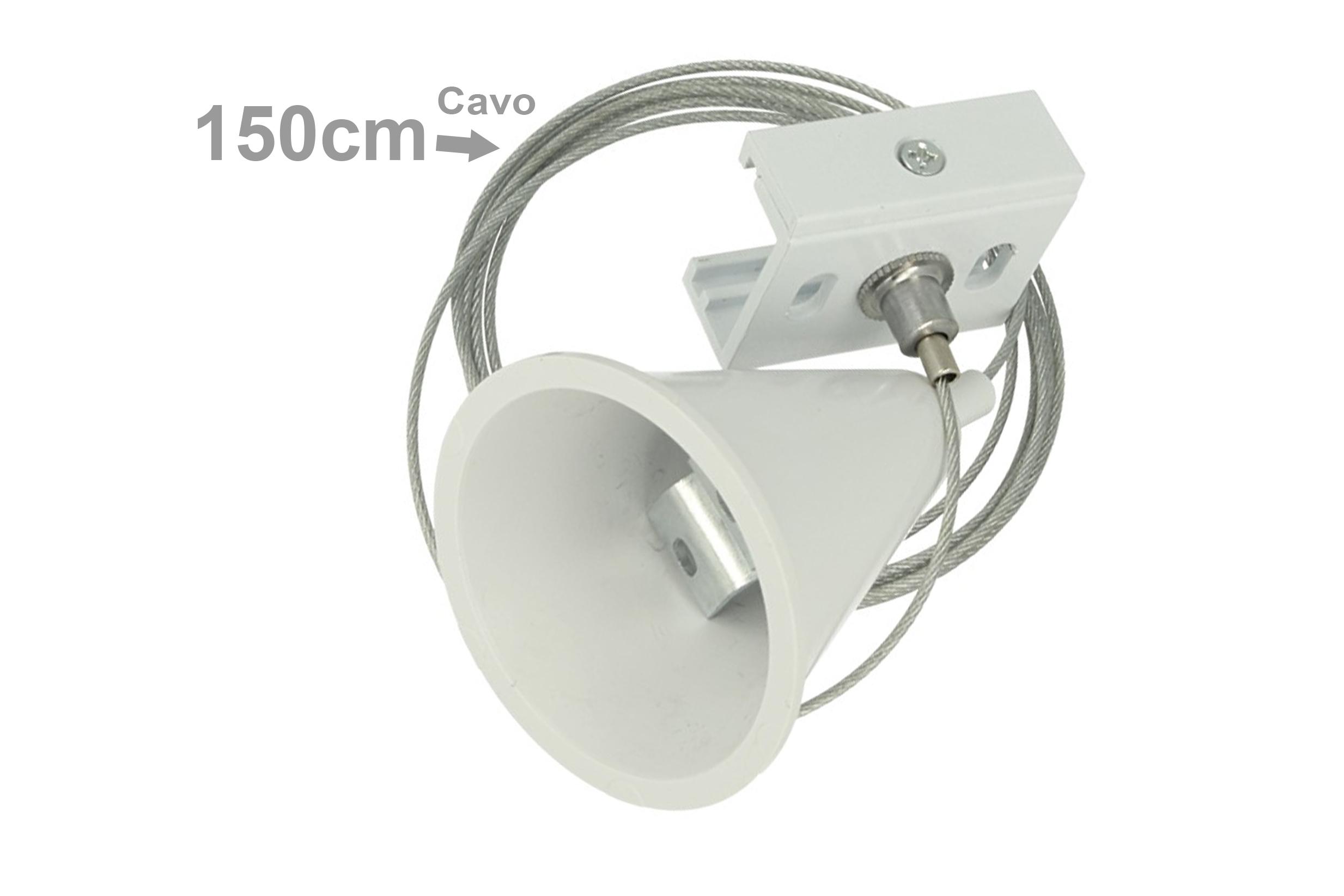 Kit Cavo Sospensione Per Binario Trifase Colore Bianco Filo Da 150cm Per Un Lato CB40103 - PZ