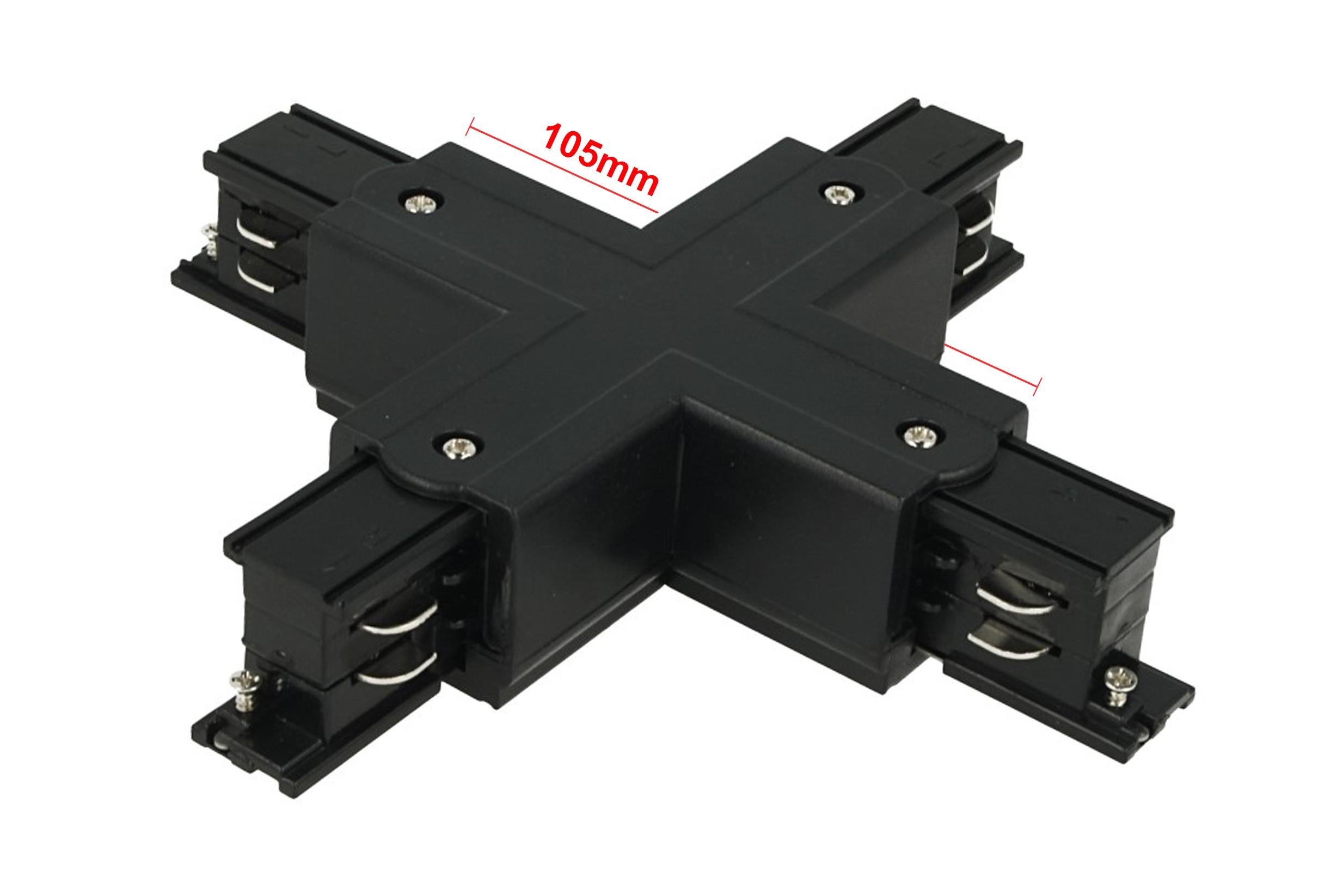 Connettore Giunto Forma X Colore Nero Per Barra Sistema Binario Trifase CB40203 - PZ
