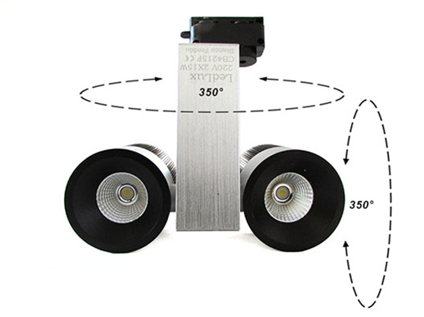 Lampada Faretto Led A Binario Doppio Faro Testa 2X15W Cob Bianco Freddo Orientabile 30W 220V - PZ