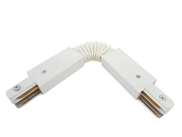 Giunto Connettore Curva Flessibile per Binario Mono Fase Colore Bianco Doppia Testa Per Mono Fase - PZ