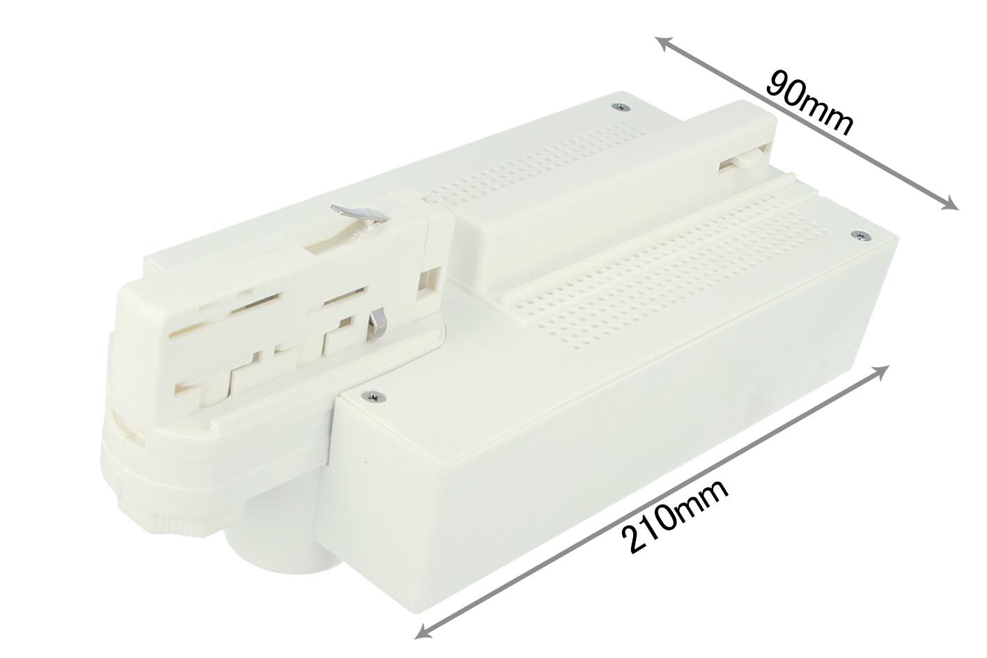 Testa Alimentazione Con Box Led Driver Colore Bianco Per Faro Led Binario Trifase per CB40103 - PZ