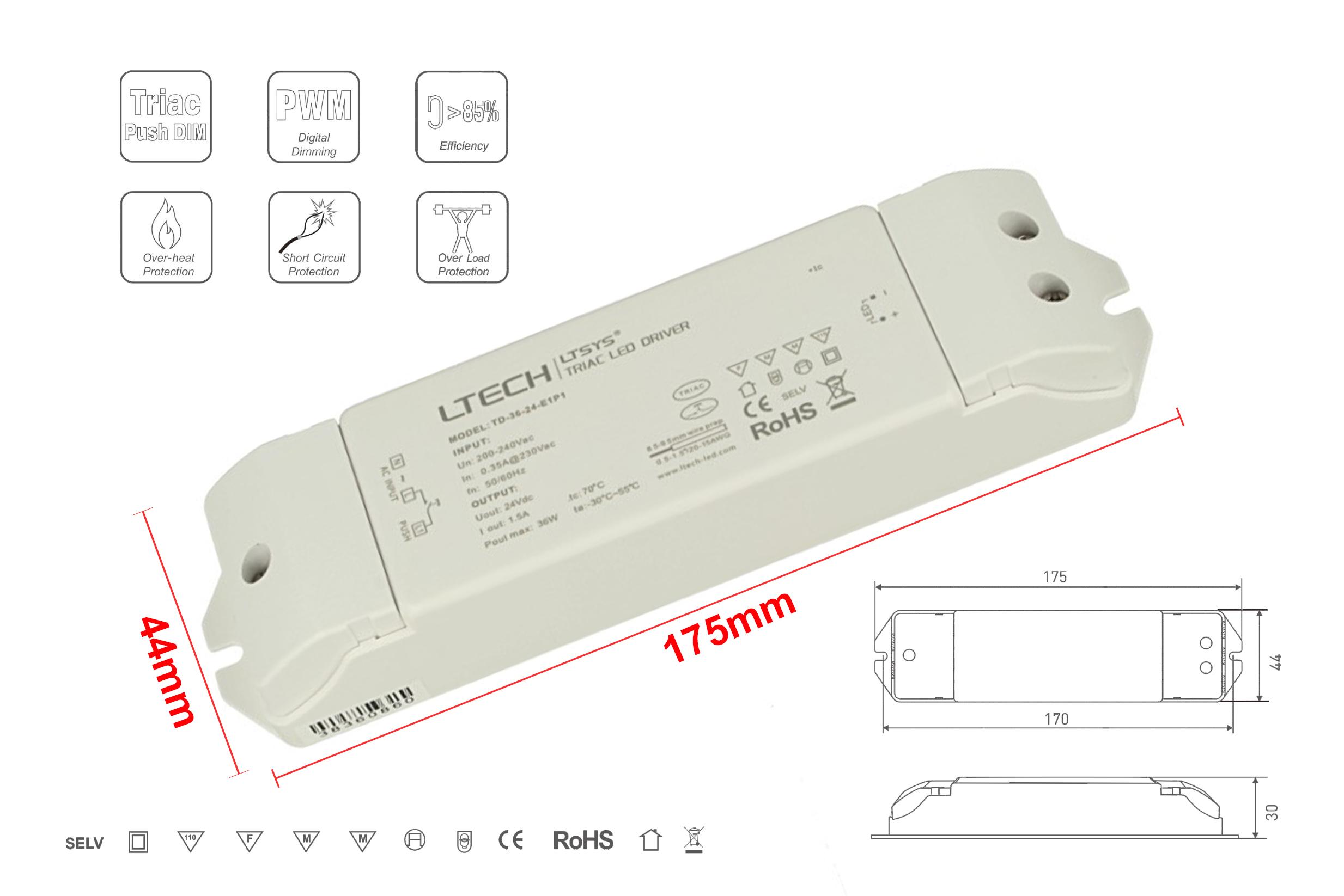 Alimentatore Dimmerabile CV 24V 36W Triac ELV Pulsante N.O. 3 In 1 Varialuce Su 220V - PZ