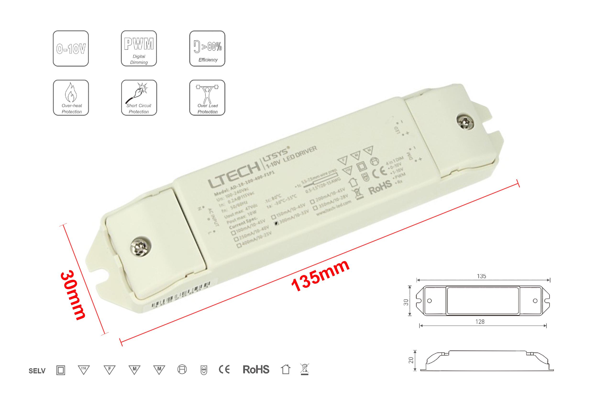 Led Driver CC Dimmerabile 0-10V 1-10V PWM 10W Regolabile 100/150/200/250/300/350/400mA - PZ