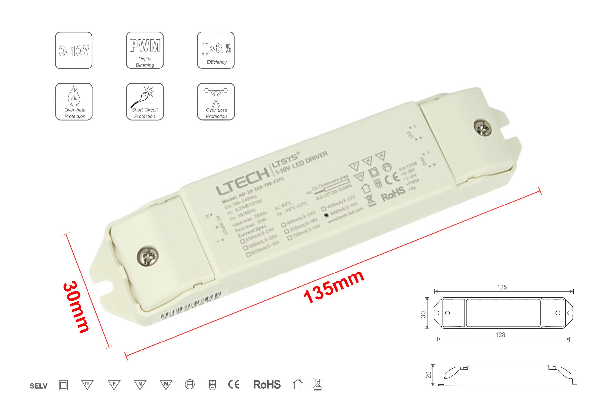 Led Driver CC Dimmerabile 0-10V 1-10V PWM 10W Regolabile 350/400/450/500/550/600/650/700mA - PZ