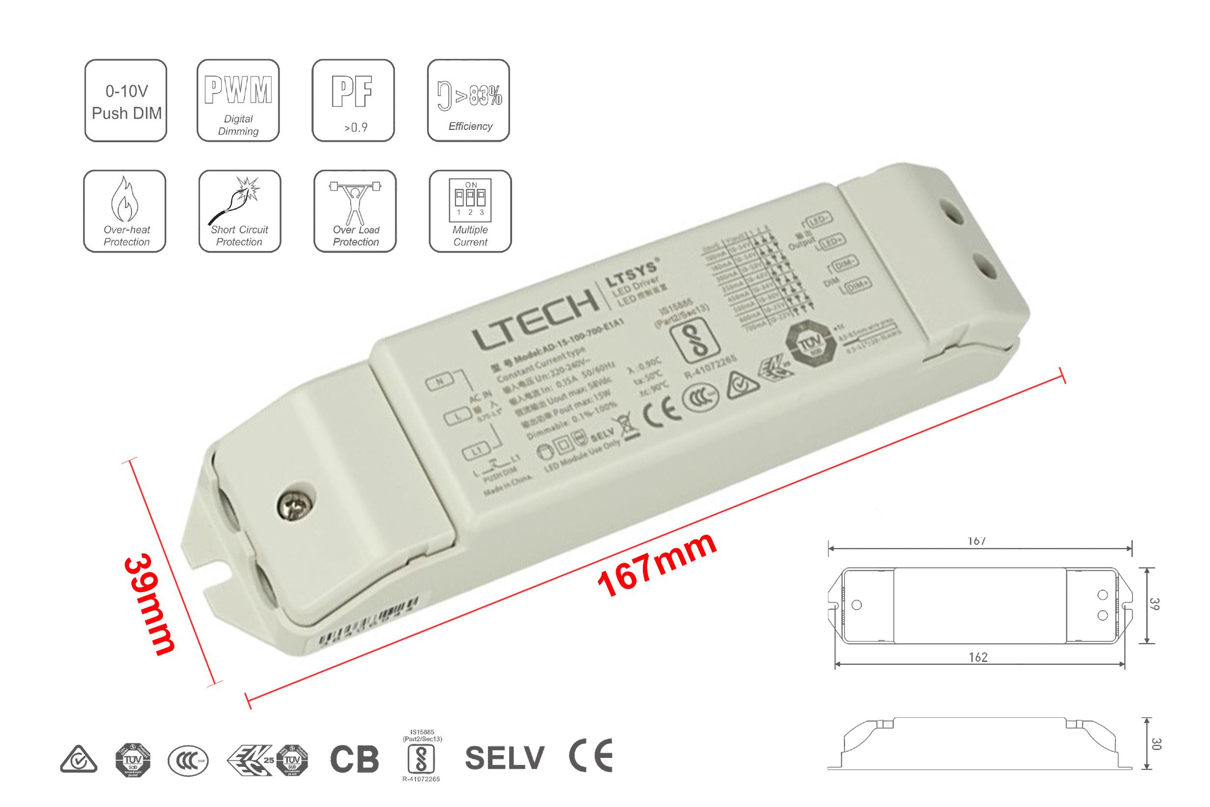 Led Driver CC Dimmerabile 0/1-10V Pulsante N.O. Push Dimmer 15W Regolabile 100/180/300/350/450/500/600/700mA - PZ