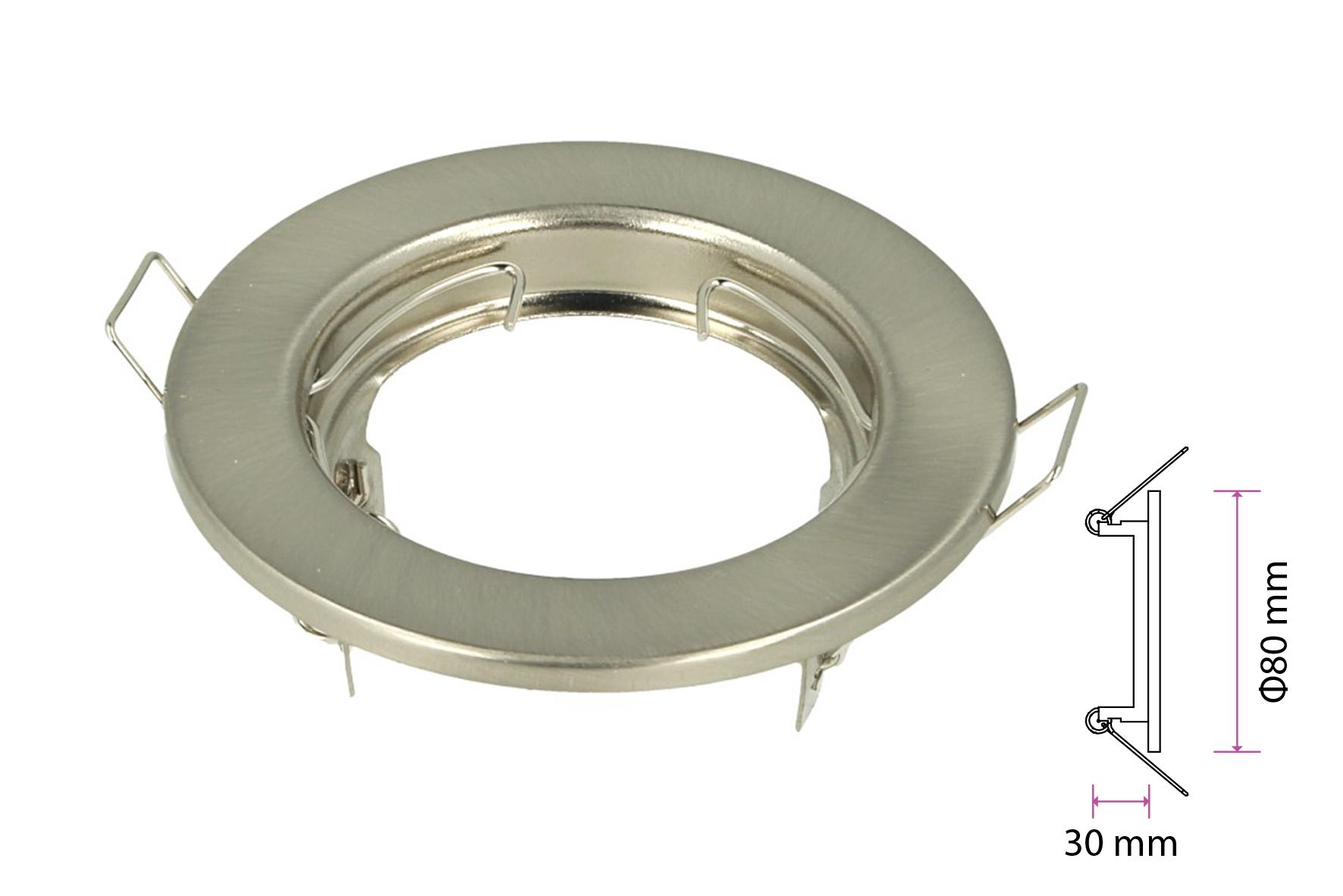2 PZ Porta Faretti Led GU10 MR16 Rotondo Fisso Con Molla Satinato Spotlight Fitting SKU-3585 - KIT