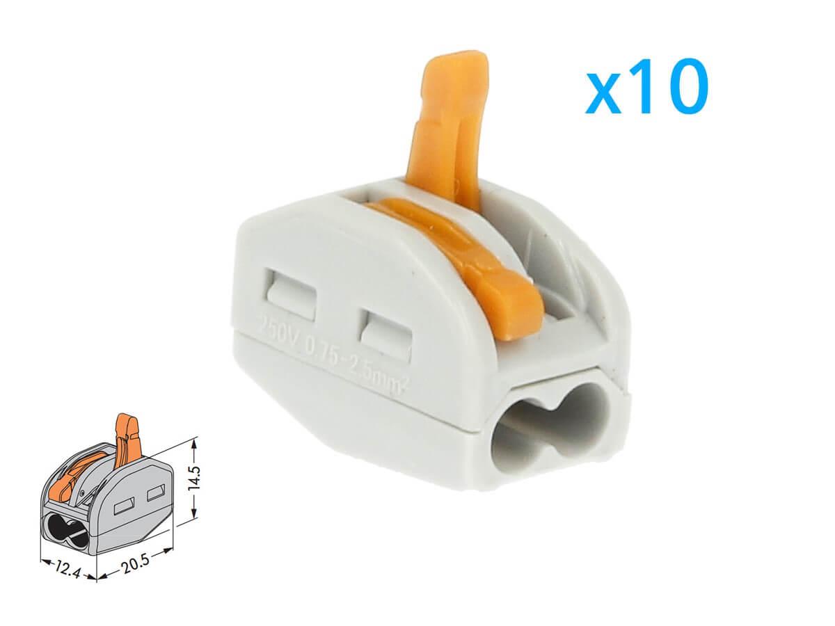 10 Morsetti A Molla Con 2 Leve Connettori Terminali Conduttore Per Cavi Fili Elettrici Riutilizabile Installazione Rapido Preciso - BUSTA