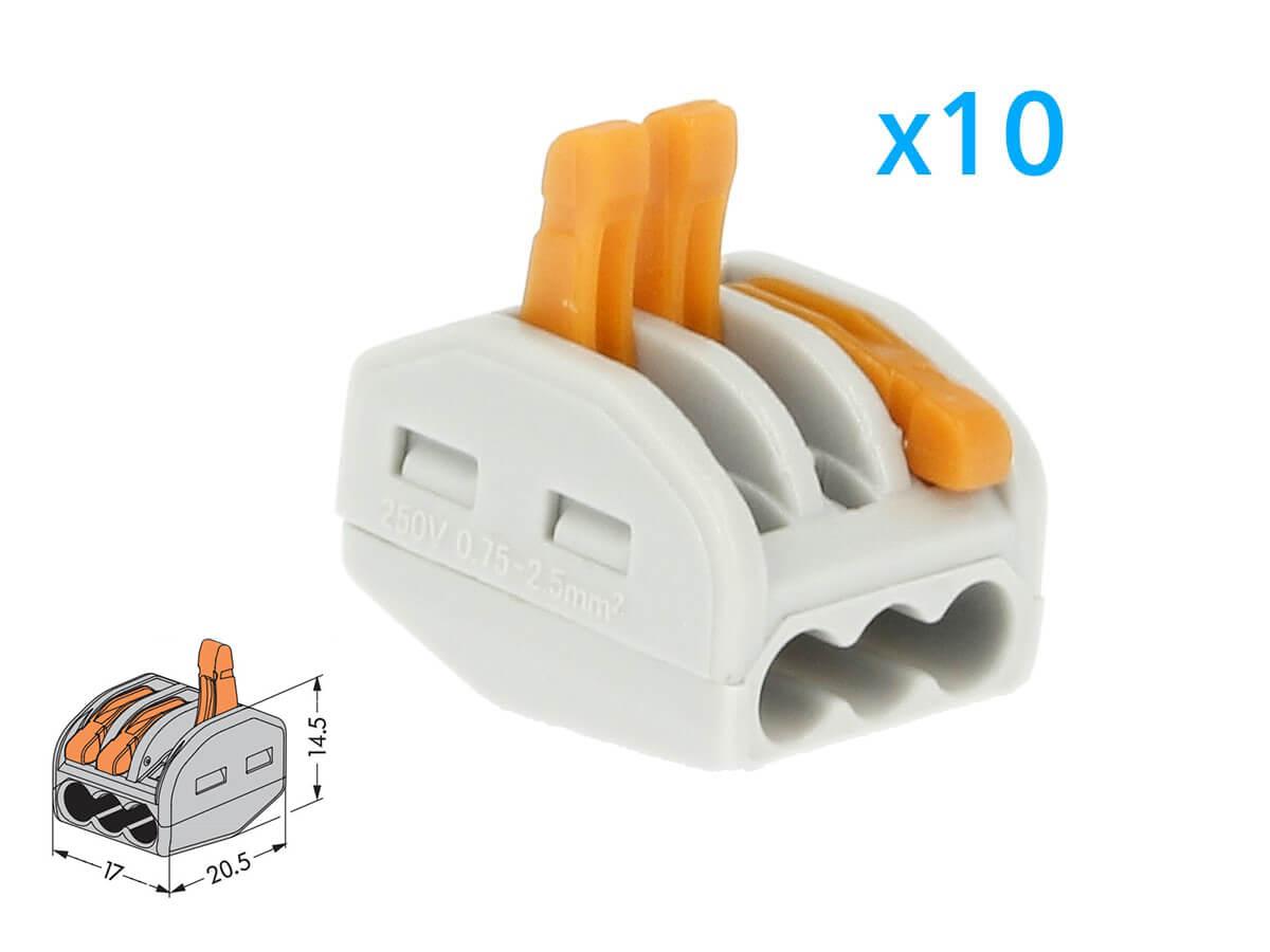 10 Morsetti A Molla Con 3 Leve Connettori Terminali Conduttore Per Cavi Fili Elettrici Riutilizabile Elevata Sicurezza - BUSTA