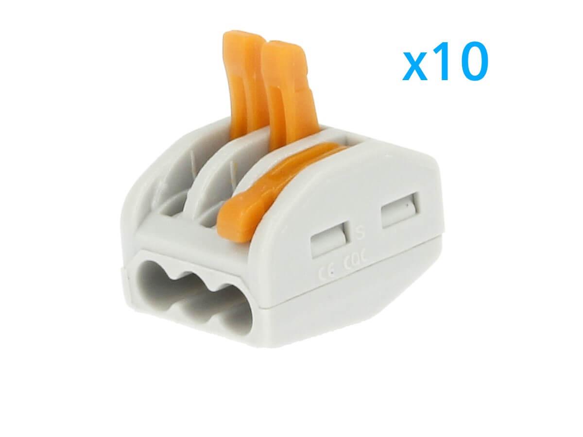 10 Morsetti A Molla Con 3 Leve Connettori Terminali Conduttore Per Cavi Fili Ele