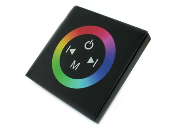 Centralina RGB Led Kit Controller Touch Panel Full Color Da Incasso Quadrata 12V 144W Sfondo Nero TM08 - KIT