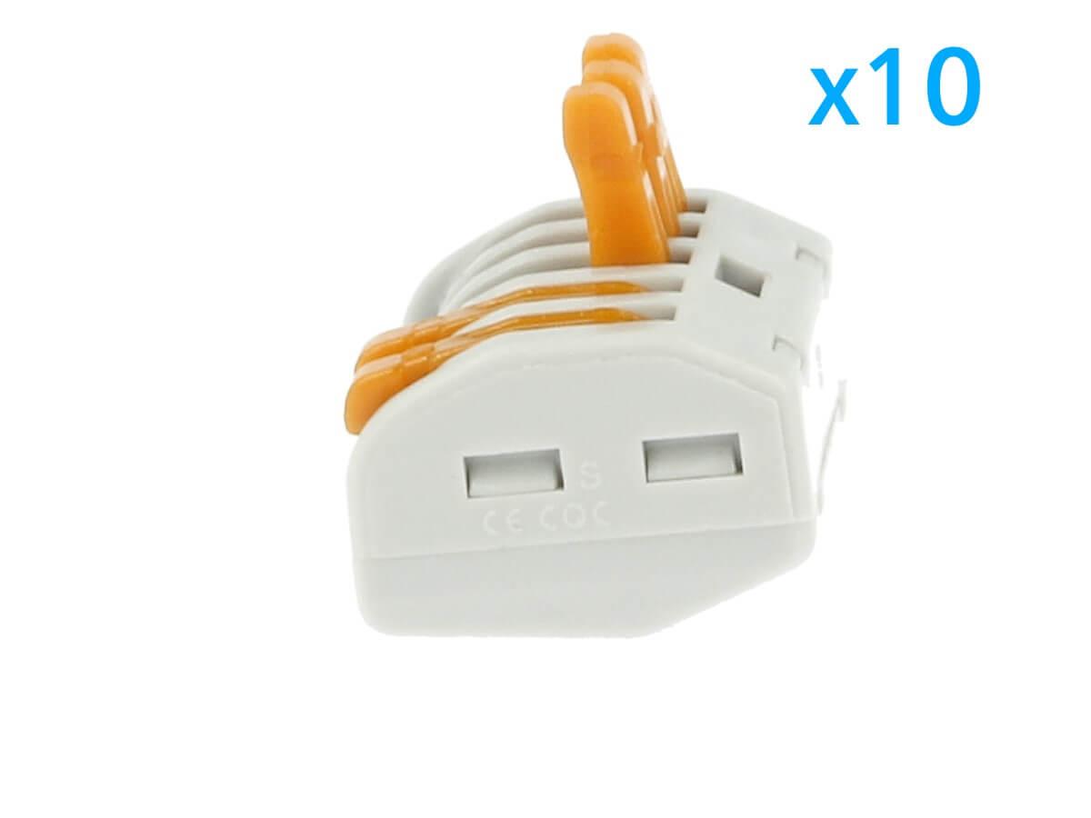 10 Morsetti A Molla Con 5 Leve Connettori Terminali Conduttore Per Cavi Fili Ele