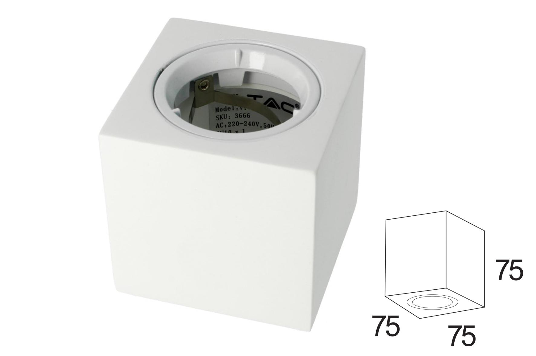 Portafaretto Da Soffitto Quadrato In Gesso Verniciabile Per Lampade GU10 Con Anello In Alluminio Bianco SKU-3666 - KIT
