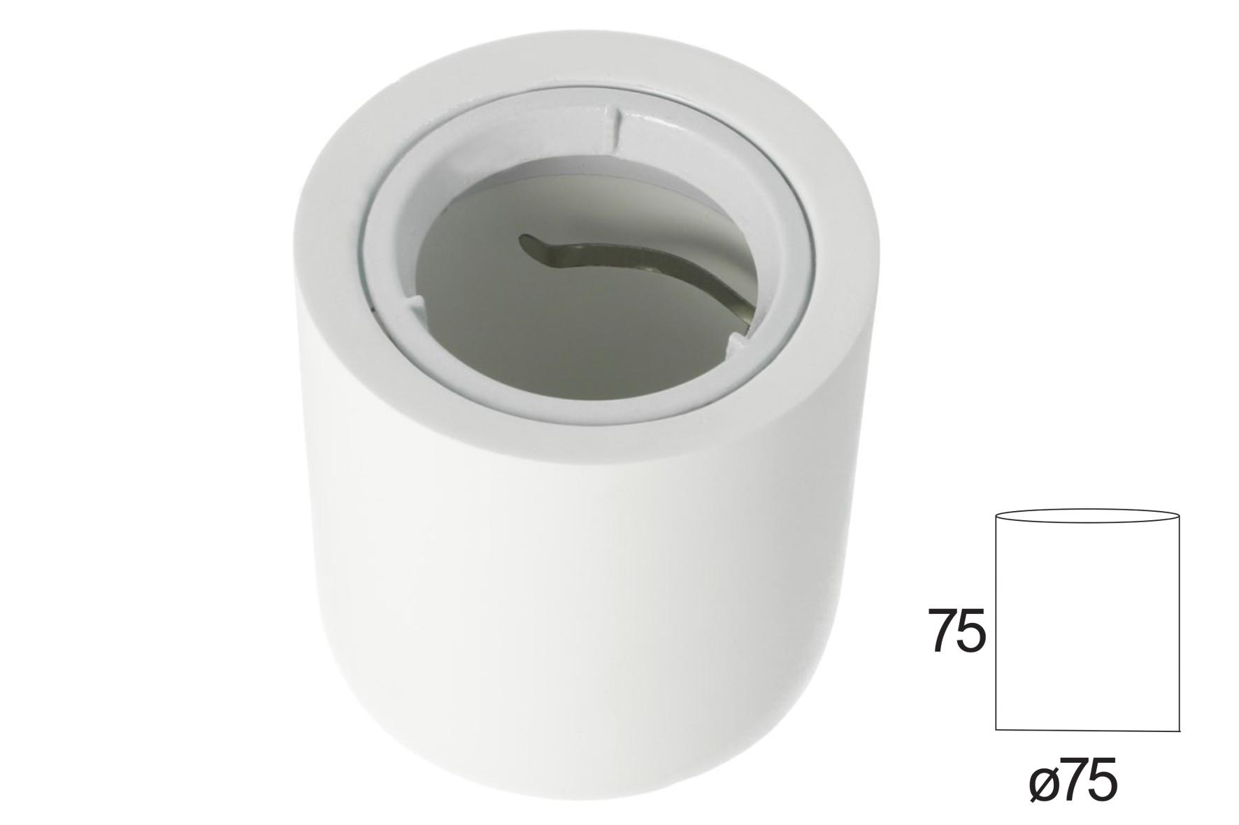 Portafaretto Da Soffitto Rotondo In Gesso Verniciabile Per Lampade GU10 Con Anello In Alluminio Bianco SKU-3667 - KIT