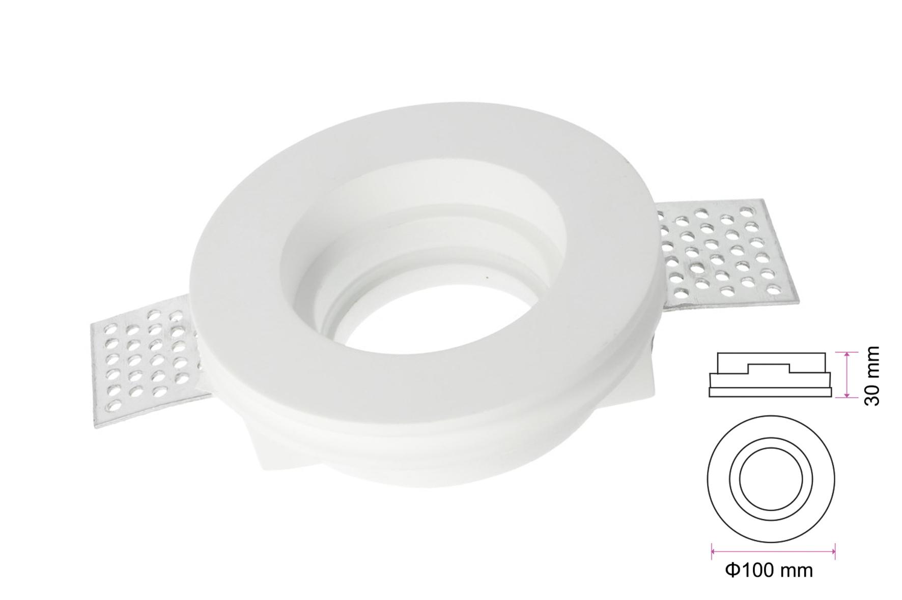 Portafaretto Lampada Led GU10 Da Incasso A Scomparsa Corpo Rotondo In Gesso Bianco Verniciabile Diametro 100mm SKU-3652 - KIT