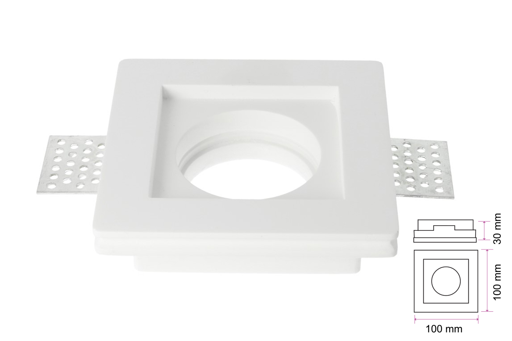 Portafaretto Lampada Led GU10 Da Incasso A Scomparsa Corpo Quadrato Gesso Bianco Verniciabile 100 x 100 mm SKU-3651 - KIT