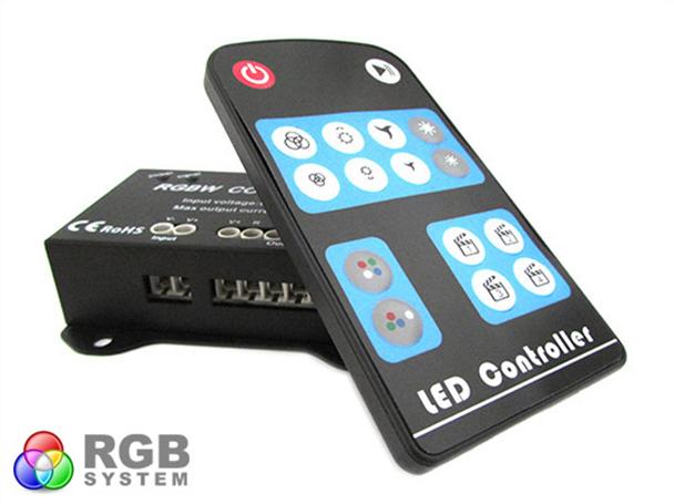 Centralina RGBW 4 Canali Controller RGB+W RGB Wireless Per Luci Striscia Bobina Led 12V 24V 16A RF104 - KIT