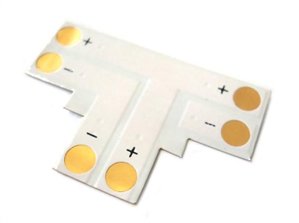 4 PZ Connettore Passo 10mm Forma T per Allungare e Curvare Striscia Led Mono Colore Larghezza 10mm - BUSTA