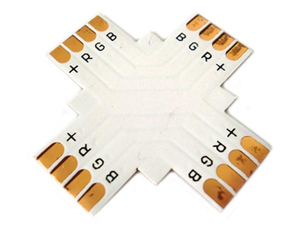 4 PZ Connettore Passo 10mm RGB Forma X Croce per Allungare e Curvare Striscia Led RGB - BUSTA