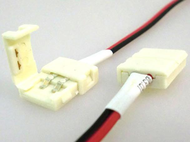 4 PZ Connettore 8mm Per Chiudere Striscia Led Smd 3528 Senza Saldare - BUSTA