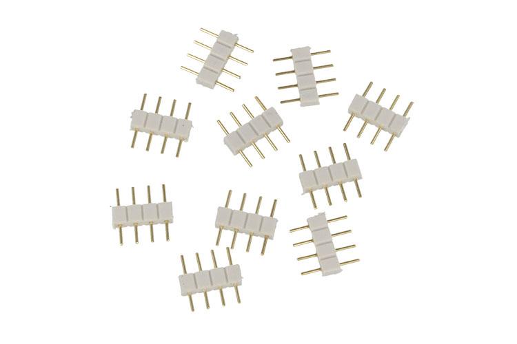 10 PZ Spina Colore Bianco Maschio 4 Pin Per Collegamento Striscia Led RGB Centra