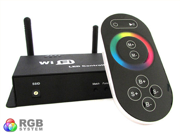 WiFi Single Point Controller Centralina RGB Led Telecomando Touch Wireless Interfacciabile Con Iphone Smartphone Android WF100 - KIT