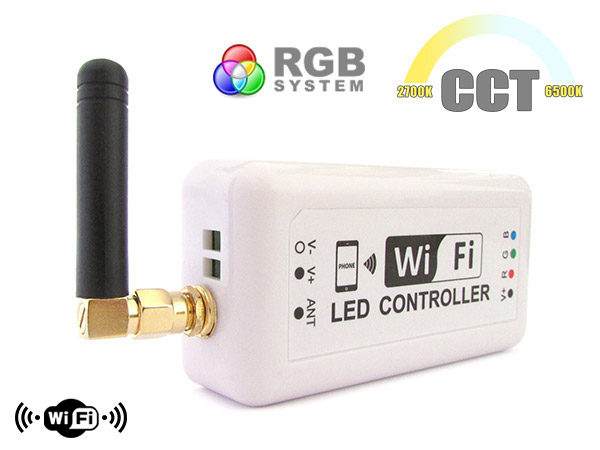 WiFi Mini Centralina Led CCT Dimmer RGB Controller Domotica Con Iphone iOS Smartphone Android 12V 24V 3X4A - KIT