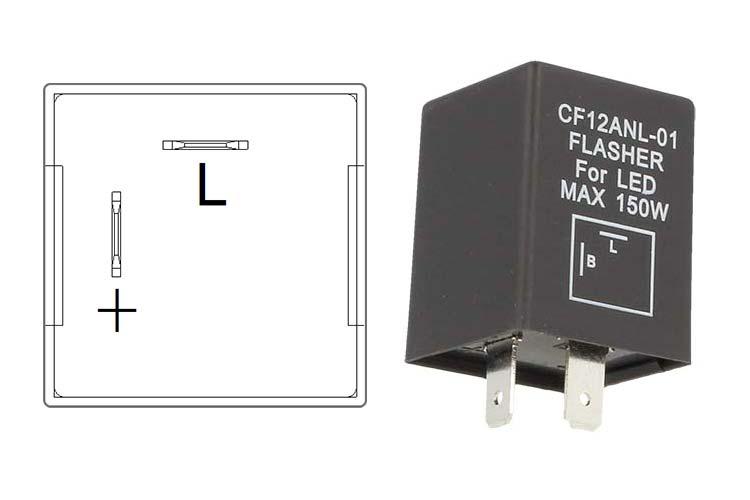 Flasher Led Lampeggiatore Rele Relay 2 Pin CF12 Positivo Sinistra 12V Per Frecce Led Auto Americano - PZ