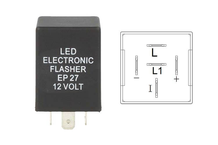 Flasher Led Lampeggiatore Rele Relay 5 Pin EP27 12V Per Frecce Led Ford Truck - PZ