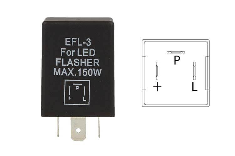 Flasher Led Lampeggiatore Rele Relay 3 Pin EFL3 12V Per Frecce Led Auto Americano - PZ
