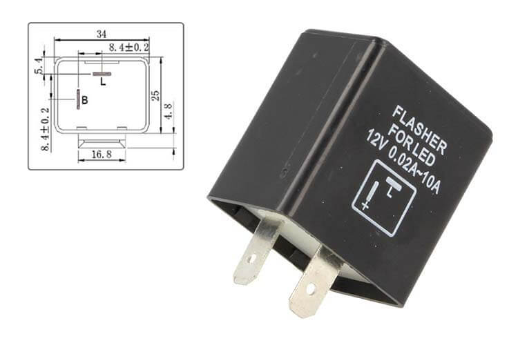 Flasher Led Lampeggiatore Rele Relay 2 Pin FLL55F 12V Per Frecce Led Moto Scooter Motorcycle - PZ