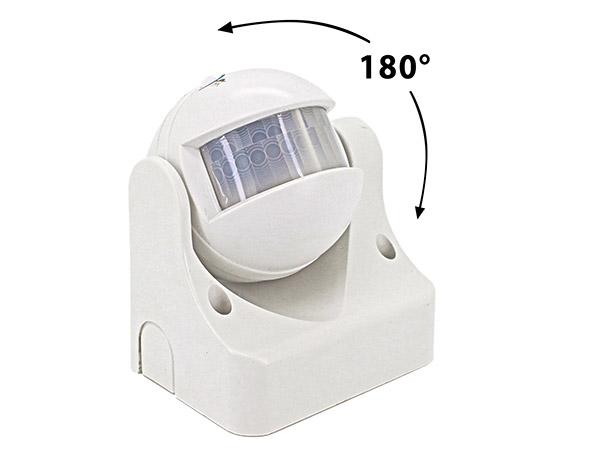 Sensore PIR Movimento Luce Crepuscolare Timer Rilevamento Presenza Infrarossi 220V Massimo 1200W IP44 Esterno Da Muro Orientabile 180 Gradi SKU-4967 - KIT