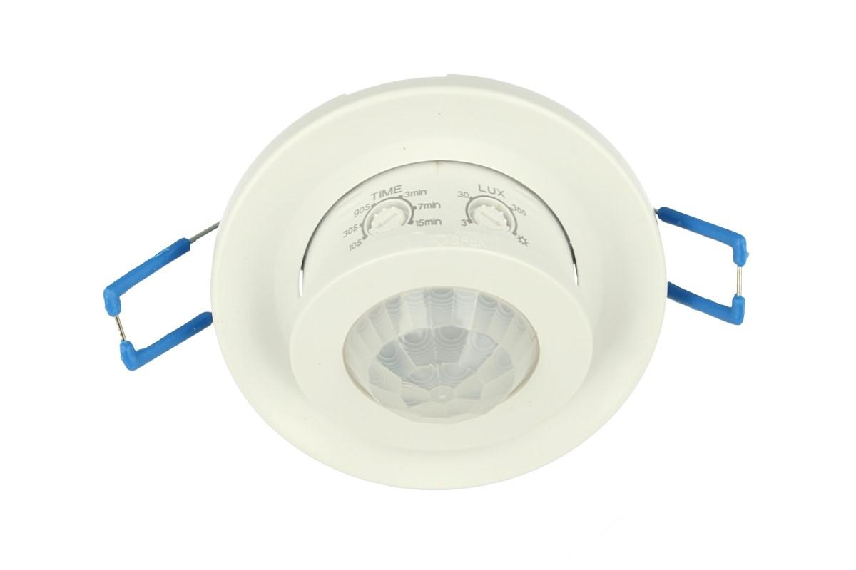 Sensore PIR Movimento e Crepuscolare Timer Da Incasso Rotondo Carcassa Bianca 220V 360 Gradi SKU-5091 - KIT
