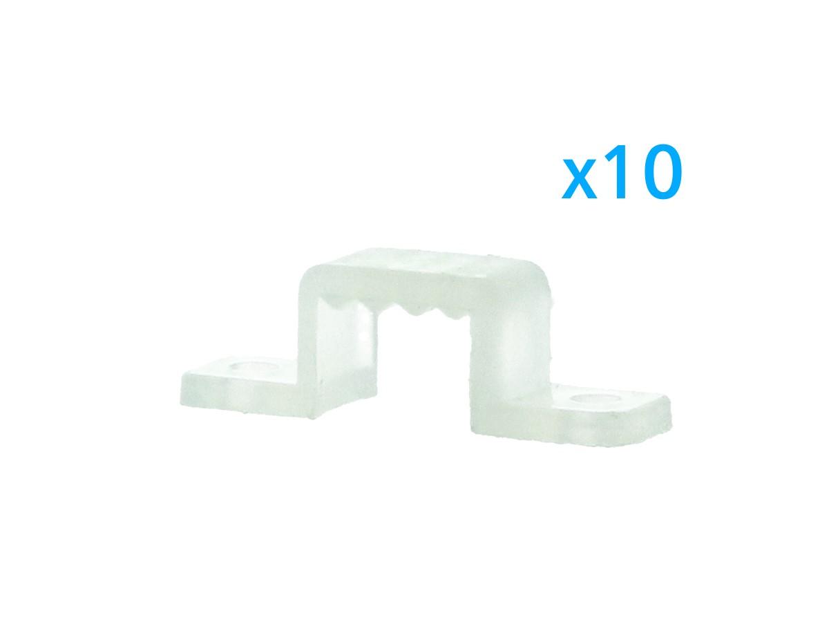10 PZ Clip Fissaggio Rigido Passo 10X7 mm Per Fissare Bobina Striscia Led Impermeabile - BUSTA