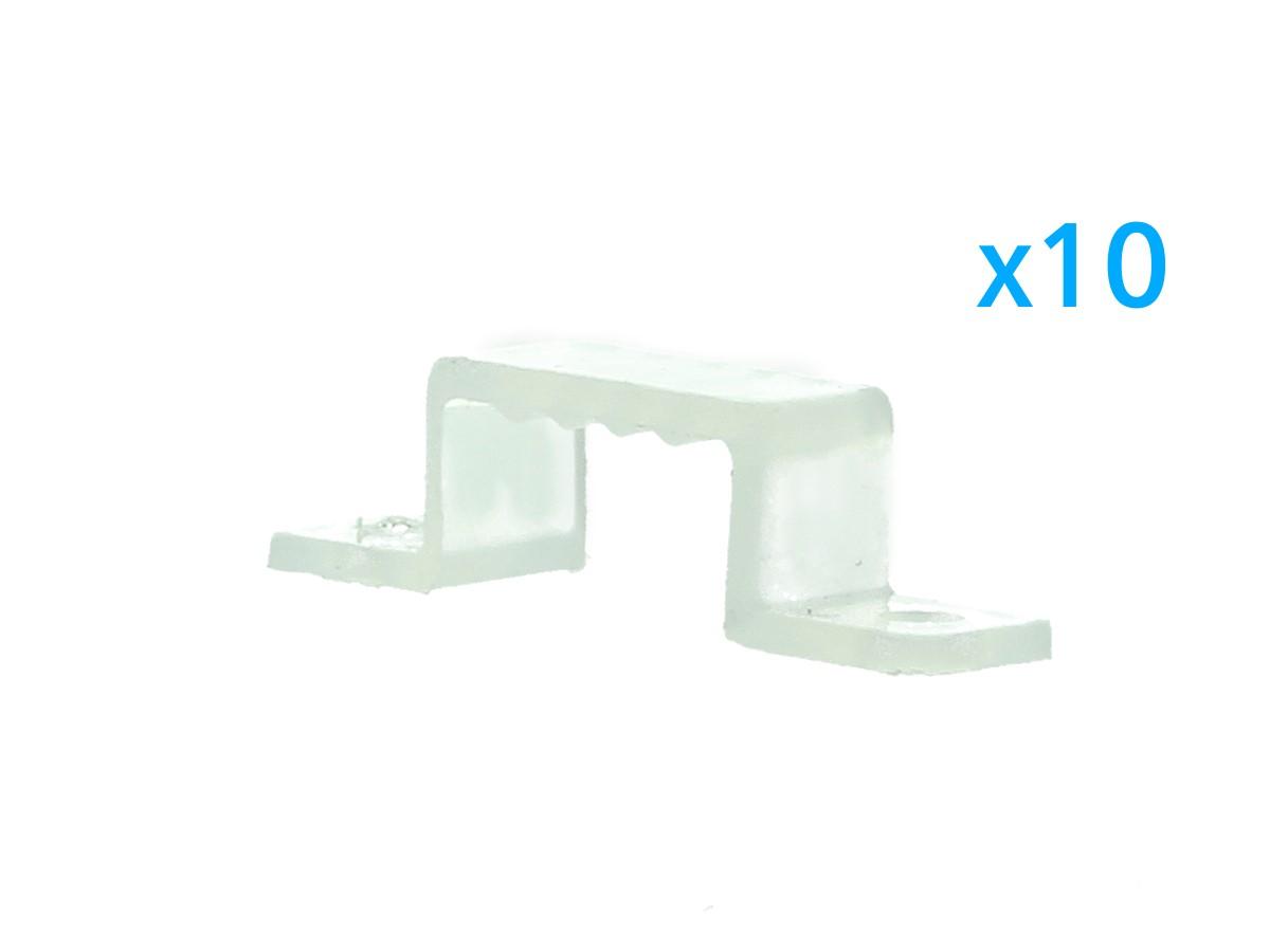 10 PZ Clip Fissaggio Rigido Passo 14X7 mm Per Fissare Bobina Striscia Led Impermeabile - BUSTA