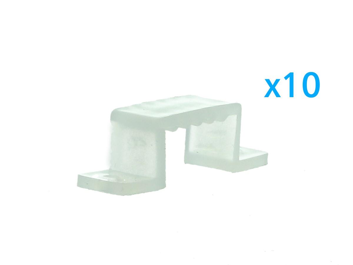 10 PZ Clip Fissaggio Rigido Passo 16X10 mm Per Fissare Bobina Striscia Led Impermeabile - BUSTA
