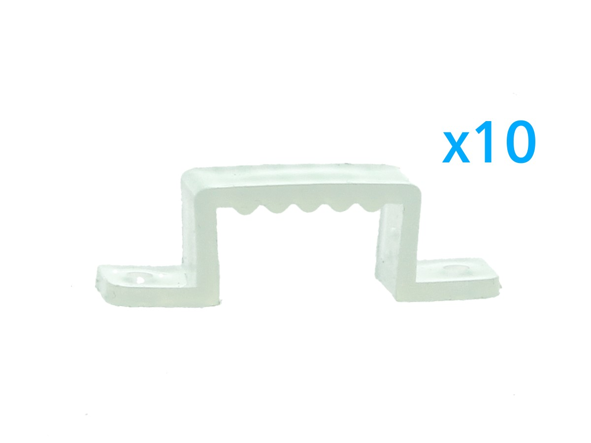 10 PZ Clip Fissaggio Rigido Passo 16X10 mm Per Fissare Bobina Striscia Led Imper