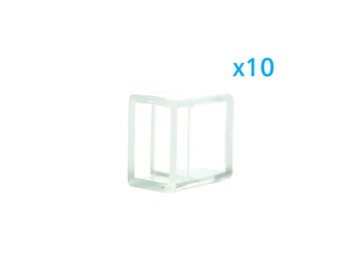 10 PZ Gommini PVC Termine Morbida 10X6 mm Per Chiusure Striscia Bobina Led Imper