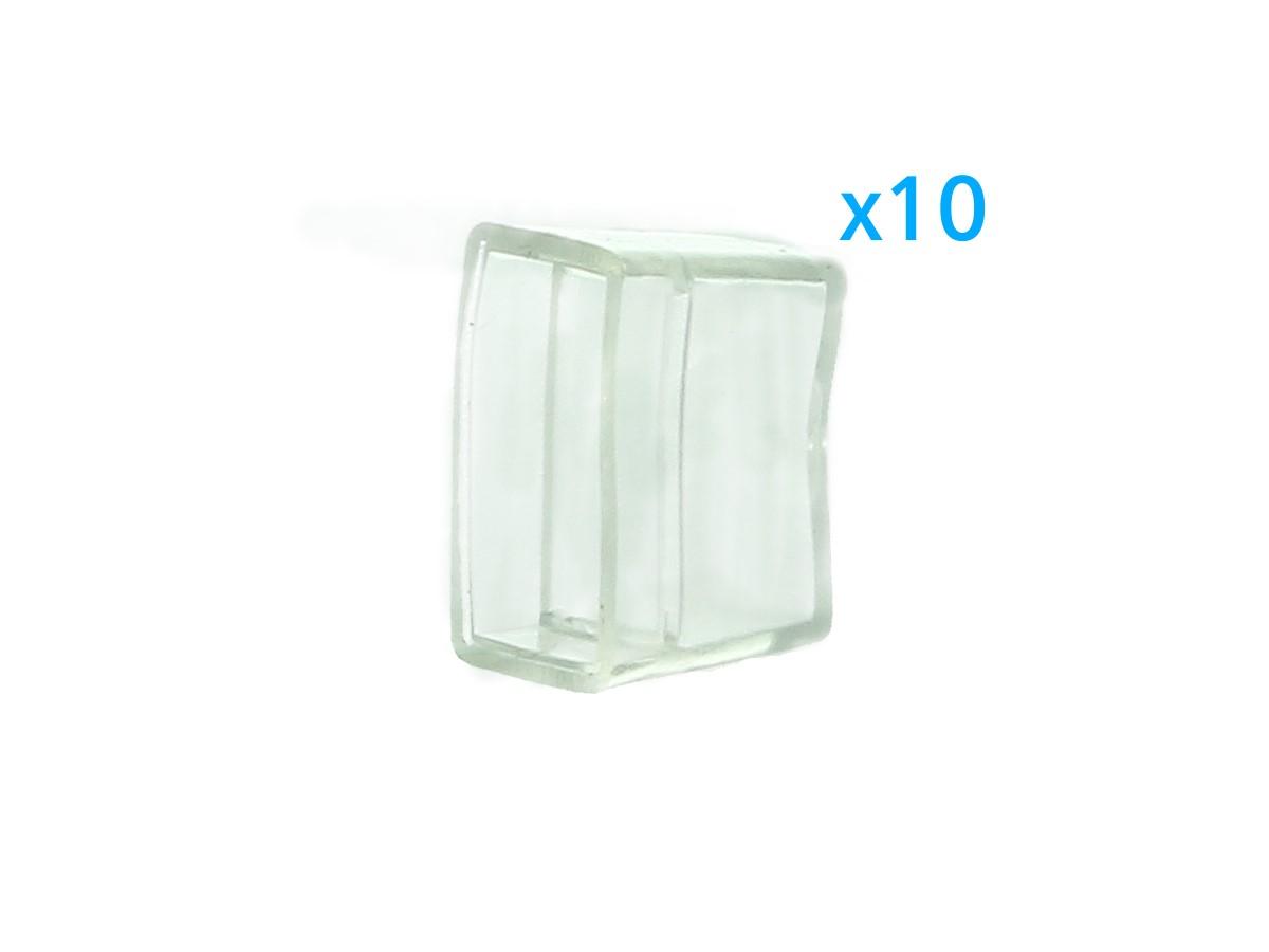 10 PZ Gommini PVC Termine Morbida 14X7 mm Per Chiusure Striscia Bobina Led Impermeabile - BUSTA