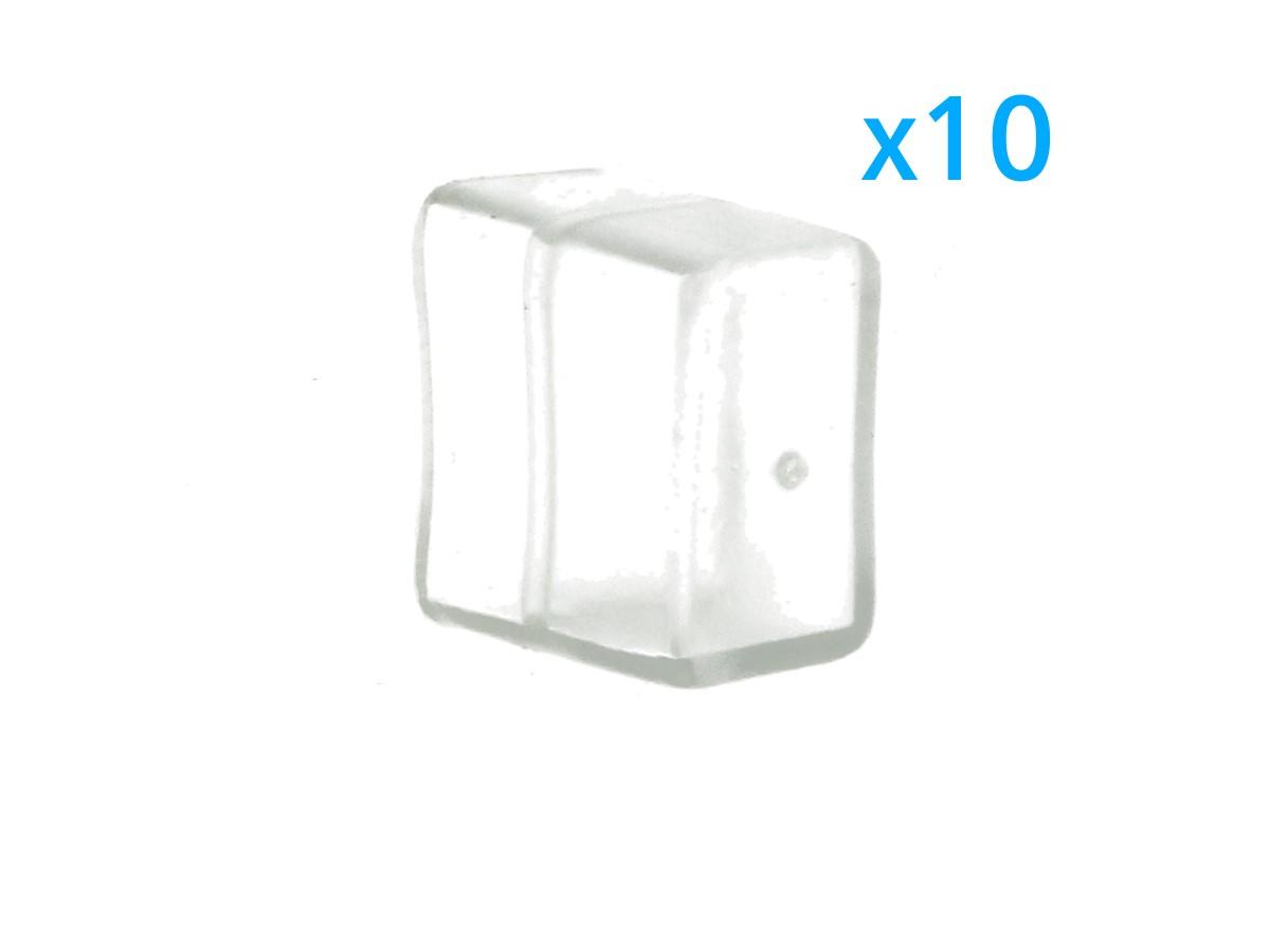 10 PZ Gommini PVC Termine Morbida 15X9 mm Per Chiusure Striscia Bobina Led Impermeabile - BUSTA