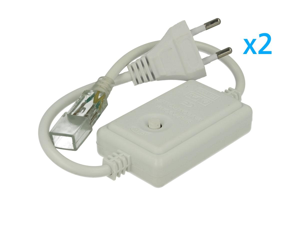 2 PZ Spina Alimentatore Trasformatore Raddrizzatore 2 Pin RGB Passo 6mm Con Bottone Interruttore On/Off Controller 8 Programmi Per Striscia Led Monocolore 220V - BUSTA