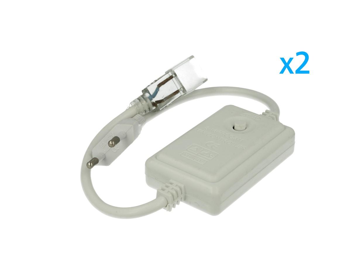 2 PZ Spina Alimentatore Trasformatore Raddrizzatore 2 Pin RGB Passo 9mm Con Bottone Interruttore Controller Per Bobina Led 220V Monocolore Fino a 50 Metri 500W - BUSTA