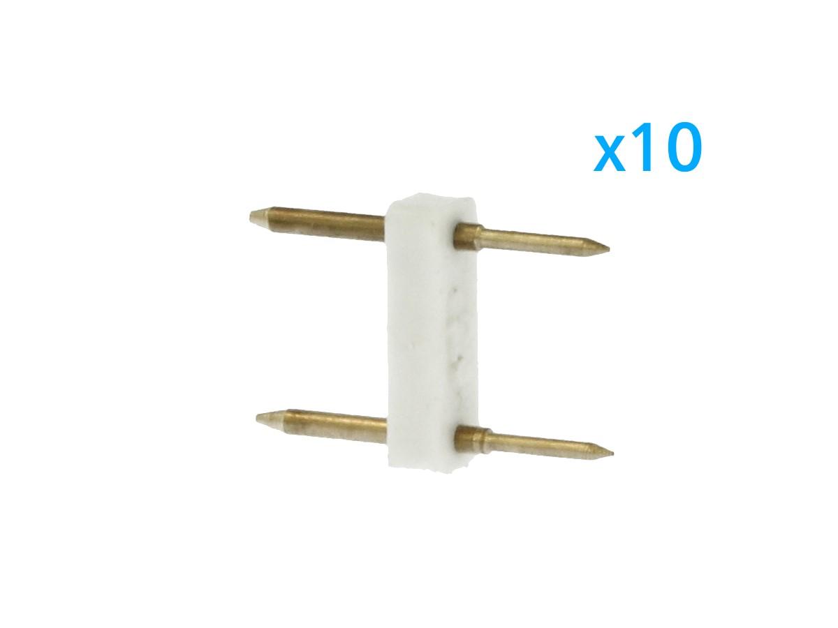 10 PZ Spina Da 2 Pin Passo 12mm Per Connessione Bobina Striscia Led Mono Colore