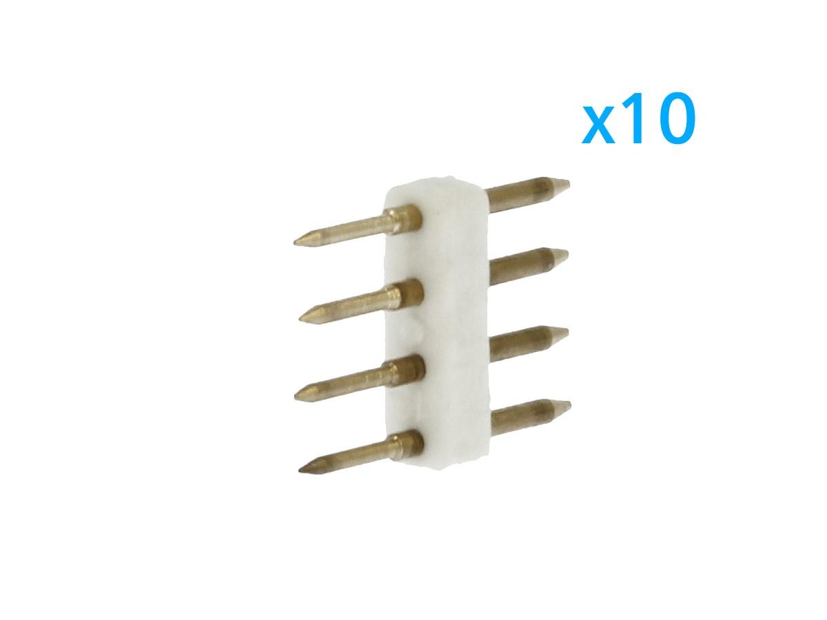 10 PZ Spina Da 4 Pin RGB Passo 13,5mm Per Collegamento Bobina Led RGB Da 220V Con Alimentatore Trasformatore Raddrizzatore - BUSTA