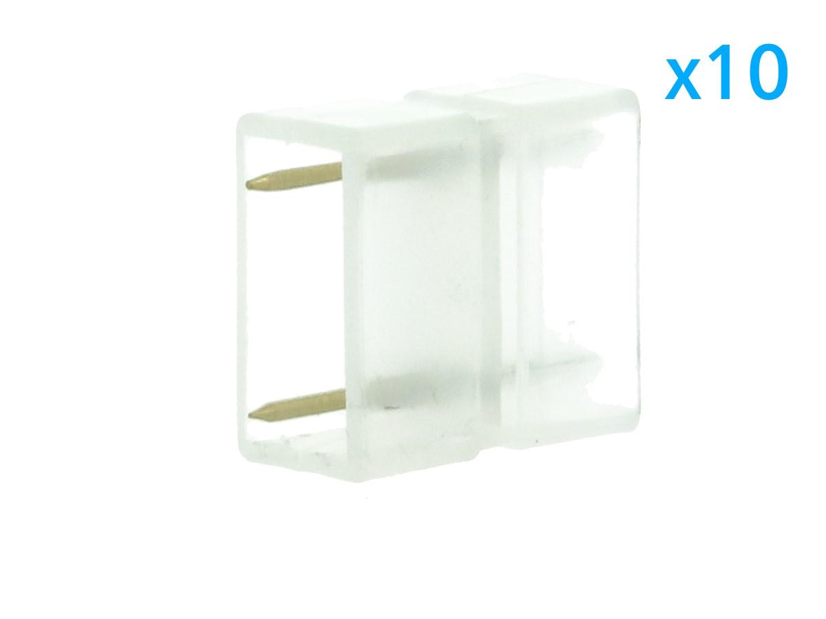 10 PZ Connettore Da 2 Pin Passo 12mm Per Unire e Allungare Bobina Led 220V Mono Colore - BUSTA