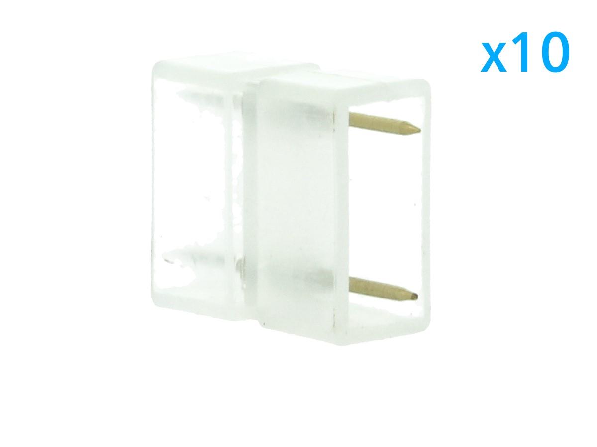 10 PZ Connettore Da 2 Pin Passo 13,5mm Per Unire e Allungare Bobina Led 220V Mono Colore - BUSTA