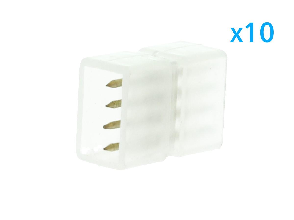 10 PZ Connettore Da 4 Pin RGB Passo 9mm Per Unire e Allungare Bobina Led RGB 220V - BUSTA