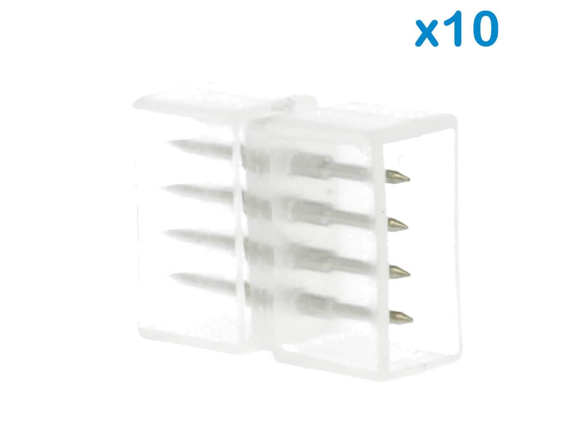 10 PZ Connettore Da 4 Pin RGB Passo 12mm Per Unire e Allungare Bobina Led RGB 22