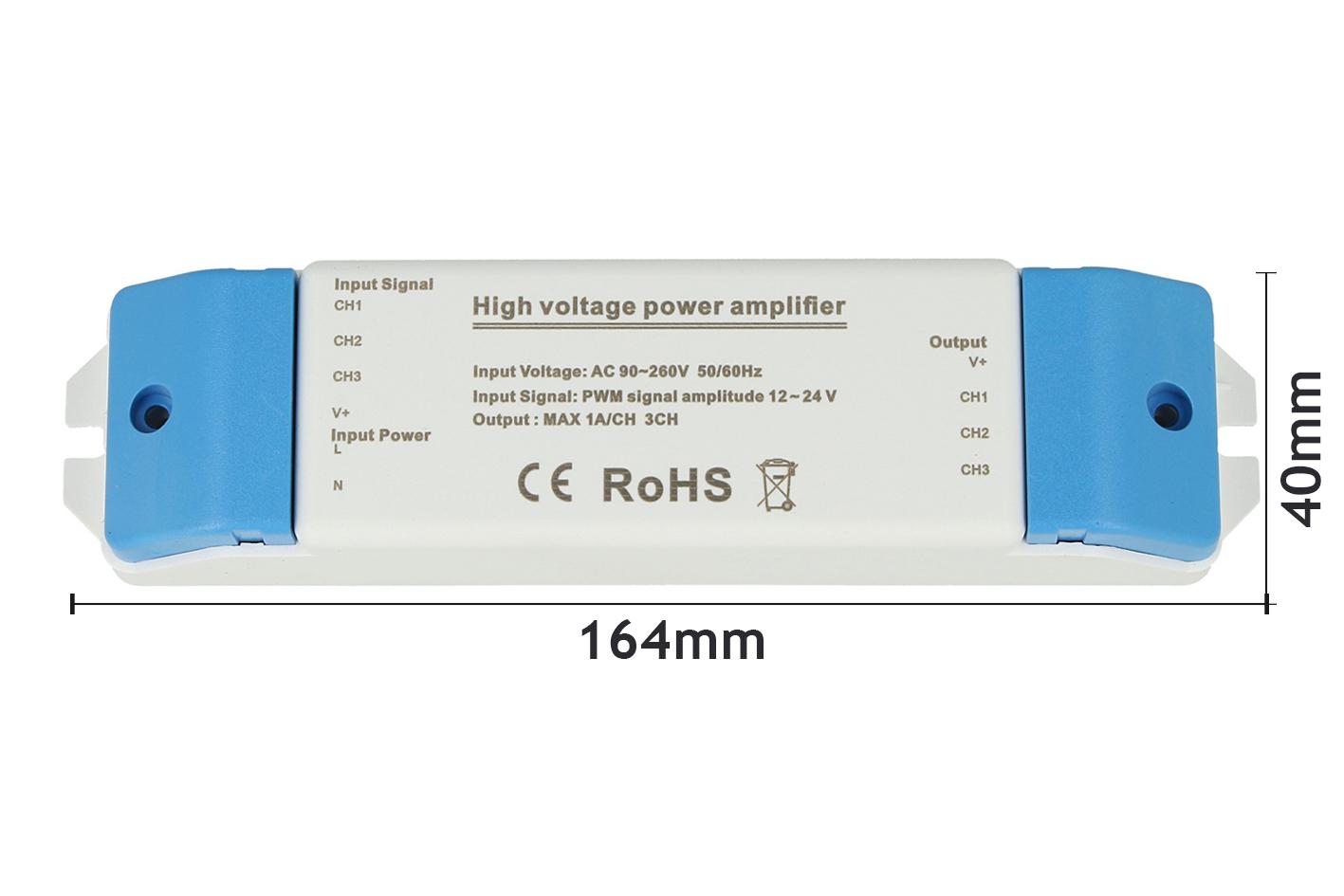 Amplificatore Led RGB e Mono Colore 220V 3X2A Per Striscia Led Alta Tensione Compatibile Con Centralina 12V 24V - KIT