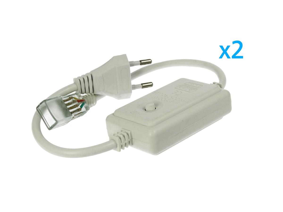 2 PZ Spina Alimentatore Trasformatore Raddrizzatore 4 Pin Passo 9mm Per Bobina Led RGB 220V Con Bottone Interruttore Mini Controller 8 Programmi - BUSTA
