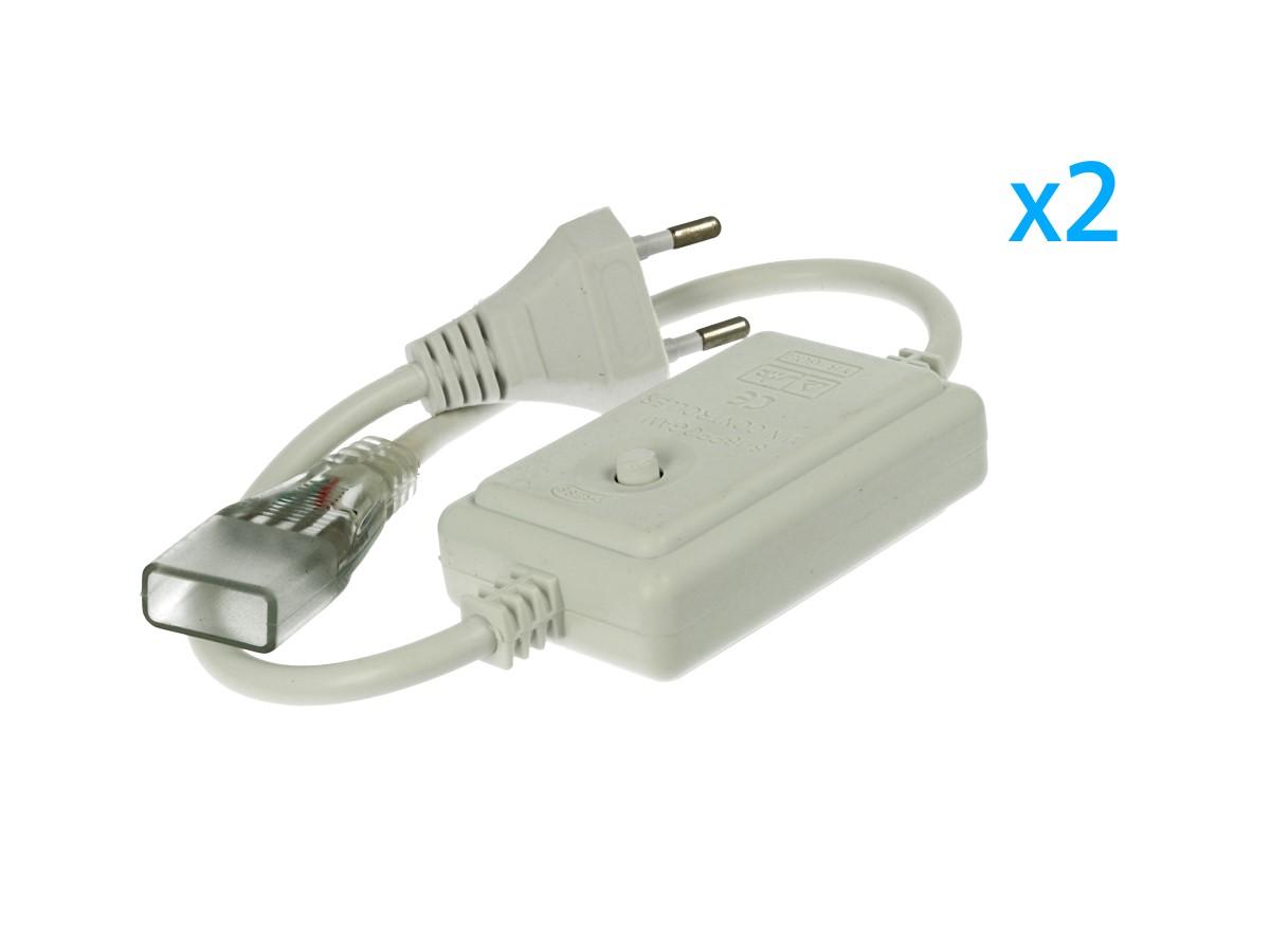 2 PZ Spina Alimentatore Trasformatore Raddrizzatore 4 Pin RGB Passo 13,5mm Con Mini Controller 8 Programmi Per Striscia Led RGB 220V - BUSTA